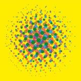 明亮的被加点的中间影调察觉了在黄色背景传染媒介的流行艺术可笑的纹理 库存照片