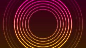 明亮的霓虹圈子敲响抽象录影动画 向量例证