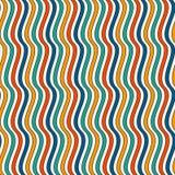 明亮的颜色垂直的波浪条纹无缝的样式 与经典主题的生动的重复的线墙纸 库存例证