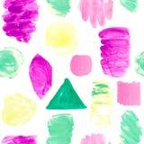 明亮的颜色斑点纹理的无缝的样式在白色被隔绝的背景的 冲程线冲程几何元素桃红色紫色 向量例证