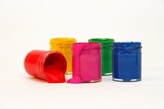 明亮的颜色树胶水彩画颜料 库存图片
