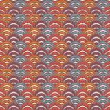 明亮的鱼鳞墙纸 与重复的扇贝的亚洲传统装饰品 与生动的半圆的无缝的样式 向量例证