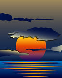 明亮的黄色日出和日落集合 免版税库存照片