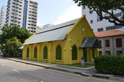 明亮的黄色现在教堂美术画廊在新加坡 库存照片