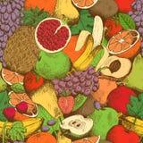 明亮的水多的新鲜水果无缝的样式 向量例证