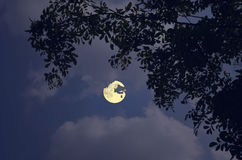 明亮的满月和白色云彩夜 库存照片