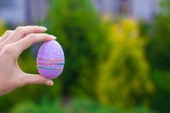 明亮的紫色复活节彩蛋在手中在背景  图库摄影