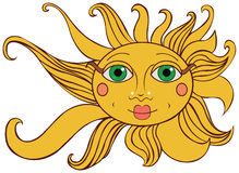 明亮的黄色太阳 库存照片