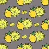 明亮的黄色新鲜的柠檬无缝的样式 库存照片