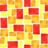 明亮的黄色,橙色,红色无缝的水彩瓦片背景 免版税库存图片