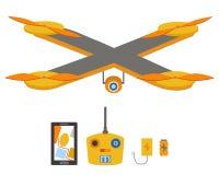 明亮的quadrocopter,遥控,导航系统、电池和充电器集合 免版税库存照片