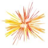 明亮红色和桔子发光 在白色背景的抽象太阳爆炸 海报的,飞行物,盖子宇宙例证, 库存照片