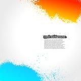 明亮红色,橙色和蓝色泼溅物油漆的难看的东西 免版税库存图片