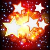 明亮背景展开许多星形 免版税库存照片