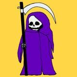 明亮,神秘,动画片,与大镰刀的死亡,紫色有冠乌鸦,是 库存例证