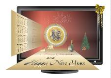 明信片与圣诞节和新年在显示器 免版税库存照片