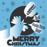 明信片与圣诞节和雄鸡的年 免版税图库摄影