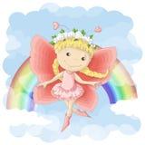 明信片例证逗人喜爱彩虹和云彩背景的矮小的位神仙  在衣裳和儿童s室的印刷品 库存例证
