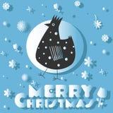 明信片圣诞快乐和鸟 库存照片