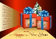 明信片圣诞节和新年到箱子 库存图片