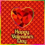 明信片在与宝石的心脏的情人节 免版税库存照片