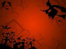 明信片的万圣夜红色背景与巫婆 免版税库存图片