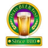 明信片的五颜六色的与慕尼黑啤酒节的商标和问候 免版税库存图片