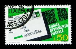 明信片突出了邮编,邮政代码s的介绍 免版税库存图片
