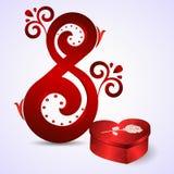 明信片从3月8日 八以一件装饰品和一个红色箱子的形式红色作为与玫瑰的心脏 免版税库存照片