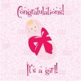 明信片 祝贺!它是女孩 免版税图库摄影
