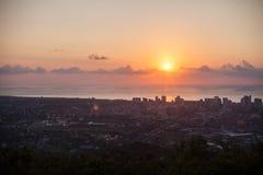 黎明全景在城市乔治亚巴统 免版税库存照片