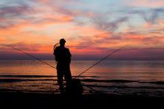 黎明捕鱼 图库摄影