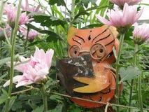 明智的猫头鹰穿戴玻璃集中读书在宽桃红色菊花花种植园 免版税库存照片