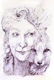 明智的shamanic妇女森林女神,有狐狸的第二自然的 免版税图库摄影