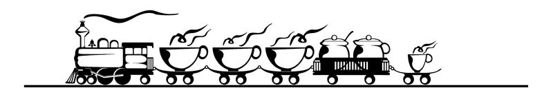 明确的咖啡,咖啡火车 免版税库存图片
