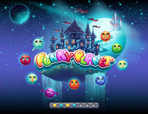 说明装货屏幕的例子一个计算机游戏的在快乐的空间和的行星题目  有起动酒吧 库存照片