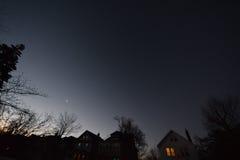 黎明,与树,星,行星, NJ 库存照片