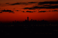 黎明, NYC,从NJ 库存照片