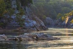 黄昏光在波托马克峡谷 免版税图库摄影