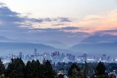 黄昏公园地平线斯坦利被采取的温哥华 库存照片