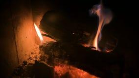 昏暗地与煤炭的灼烧的木柴特写镜头在一块加工困难的玻璃后的一个现代家庭火炉在晚上 艺术美丽的照相机注视看起来充分的魅力绿色关键字的嘴唇低做照片妇女的纵向紫色的方式 股票录像