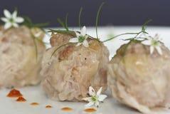 昏暗的饺子肉被蒸的总和 免版税库存图片