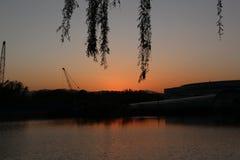 黄昏的北京海淀公园 免版税库存照片