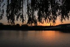 黄昏的北京海淀公园 库存照片