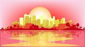 黄昏的城市 免版税库存图片