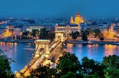 黄昏的布达佩斯 库存照片