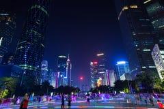 黄昏的广州摩天大楼,中国 库存照片