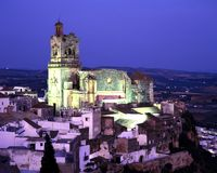 黄昏的教会,卡约埃尔考斯de la弗隆特里,西班牙。 免版税库存照片