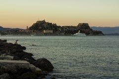黄昏的科孚岛堡垒 免版税库存照片