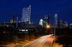 黄昏的街市奥斯汀得克萨斯 免版税库存照片
